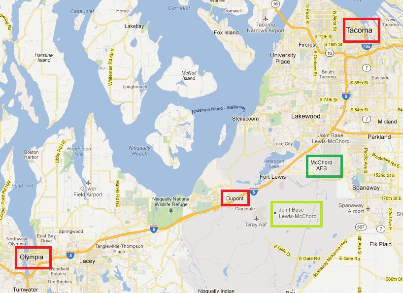 Map of DuPont WA