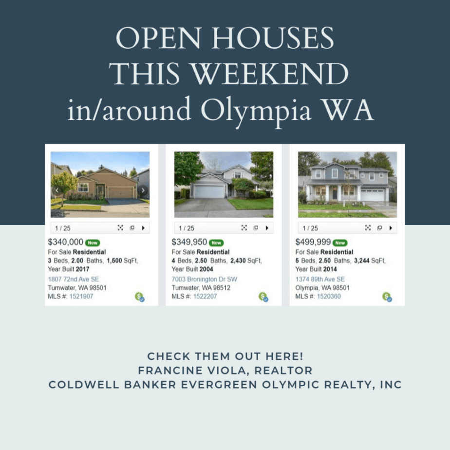 Open houses this weekend in Olympia WA September 28-29, 2019